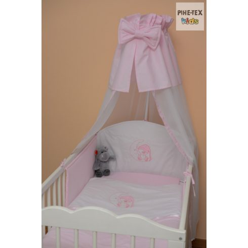 Rózsaszín, hímzett sapkás maci 4 részes babaágynemű szett (99)
