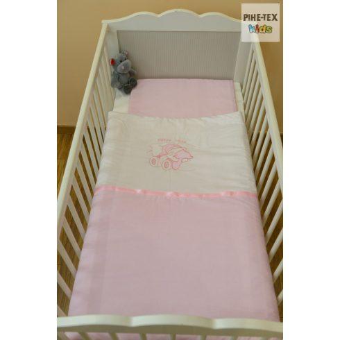 Halványrózsa hímzett alvós maci babaágynemű huzat szett (99)