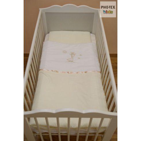 Vaníliaszín, hímzett zsiráfos baba ágynemű huzat (98)