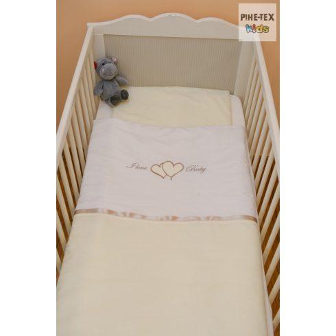 Vaníliaszín, hímzett I love baby felirattal szivecskékkel baba ágynemű huzat (98)