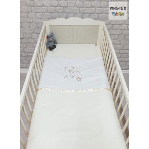 Vaníliaszín, hímzett függős macik baba ágynemű huzat (98)