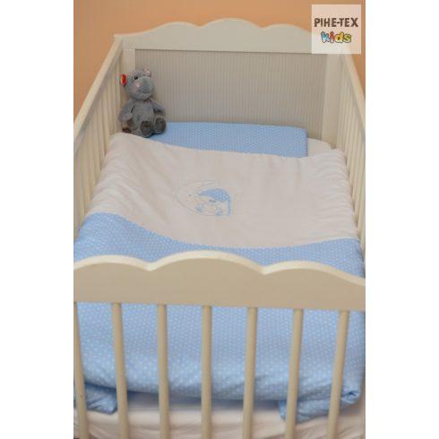 Kék pöttyös, hímzett sapkás maci baba ágynemű huzat (114/K)