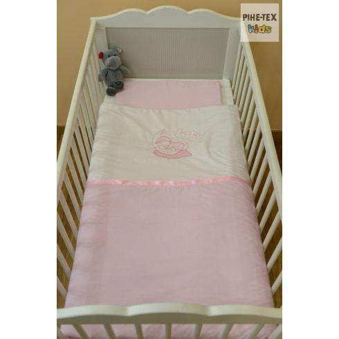 """Rózsaszín, """"hímzett alvós baba"""" 2 részes babaágynemű szett (99)"""