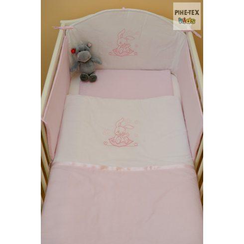 Rózsaszín, nyuszis 3 részes babaágynemű szett (99)