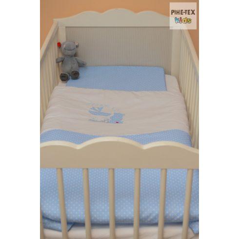 Kék pöttyös, hímzett vizilovas baba ágynemű huzat (114/K)