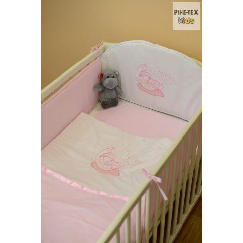 Rózsaszín, alvós baba 3 részes babaágynemű szett (99)